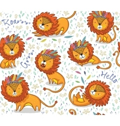 Funny lions seamless pattern with white vector