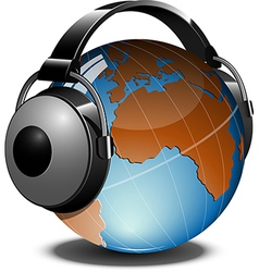 Globe with headphones on vector image