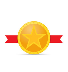 Gold star medal and red ribbon on white vector
