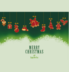 hanging christmas elements background vector image vector image