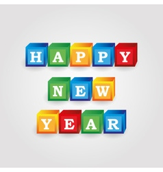 Happy new year message from color bricks with vector