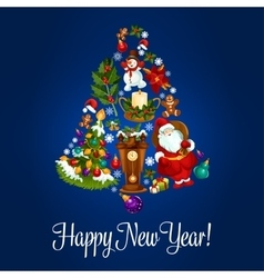 Happy new year poster of christmas symbols vector