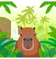 Kapibara on the jungle background vector