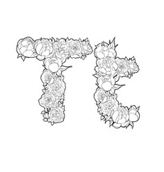 Letter t made of flowers vector