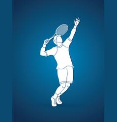 man tennis player sport man pose serve vector image vector image
