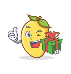 Mango character cartoon mascot with gift vector