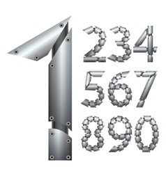 Number Metal construction Isolated on white vector image vector image