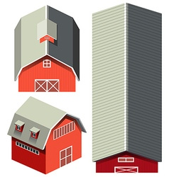 Red barn in different angles vector