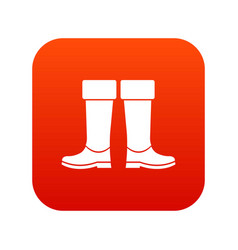 Rubber boots icon digital red vector