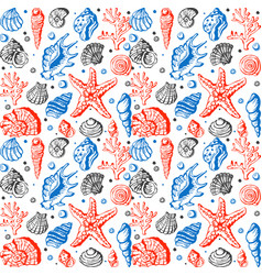 sea life marine shells coral and underwater stars vector image