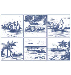 Seashore beach with palm trees sailing boats on vector