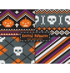 Set of seamless Halloween patterns vector image