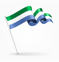 Sierra leone pin wavy flag vector