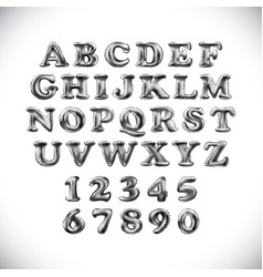 Silver shiny english alphabet and numerals from vector