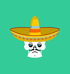 skull in sombrero sad emoji mexican skeleton for vector image