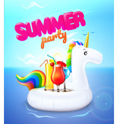 Summer party unicorn inflatable pool ring vector