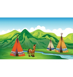 Tents and a smiling horse vector image