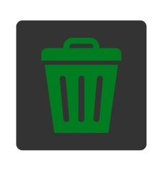 Trash Can flat green and gray colors rounded vector image vector image
