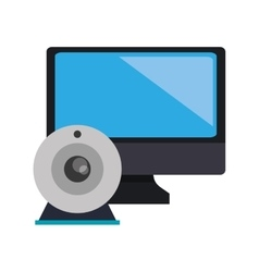 Computer monitor and webcam icon vector