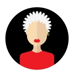 Female face avatar round flat icon with women vector