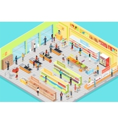 Supermarket Interior in Isometric Projection 3D vector image