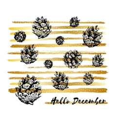 Hello December Merry Christmas Card Hand drawn vector image