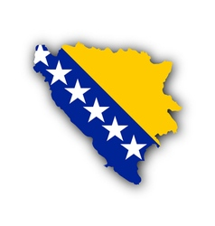 Map and flag of bosnia and herzegovina vector