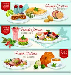 French cuisine restaurant dinner dishes banner set vector