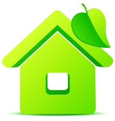 Green eco house 3d icon vector