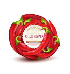 Red hot chili pepper placed in a circle vector