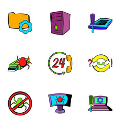 Virus danger icons set cartoon style vector