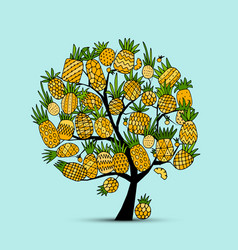 Pineapple tree sketch for your design vector