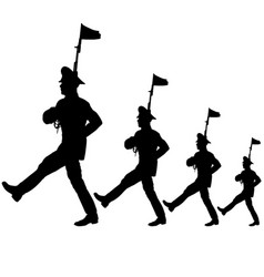 Black silhouette soldier is marching with arms on vector