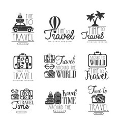 Travel around the world set for label design vector