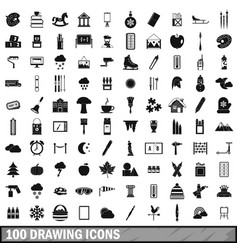 100 drawing icons set simple style vector