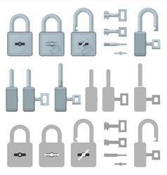 Locked or unlocked padlocks for web transaction vector image