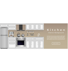 Modern kitchen interior banner housewife vector