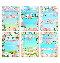 Hello summer floral banner set with flower frame vector