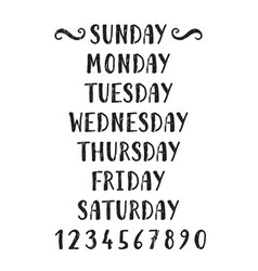 Handwritten grunge lettering days of the week vector