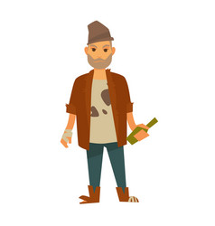 Homeless man in stained t-shirt with bottle in vector
