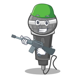 Army microphone cartoon character design vector