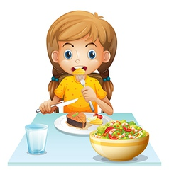 A young girl eating vector