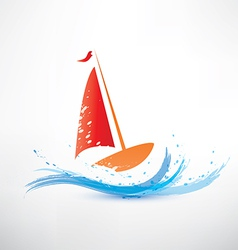 Yacht and ocean wave symbol vector