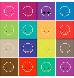 Set of faces with various emotion vector