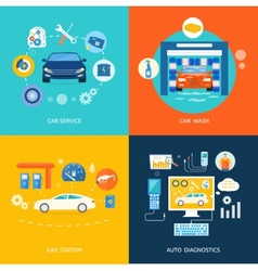 Car service car wash gas station auto diagnostics vector