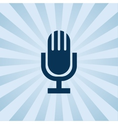 Old fashioned microphone on background beams vector
