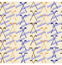 Golf sport clubs seamless texture in vintage style vector image