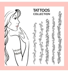 Hand drawn tattoo doodle borders collection vector