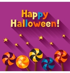 Happy halloween greeting card with candy lolipop vector