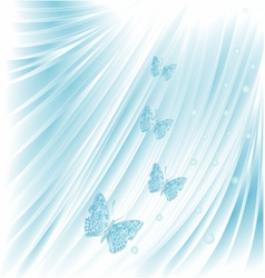 Blue butterflies with pearls wedding background vector